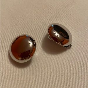Avon Vintage Silver-Plated ClipOn Button Earrings